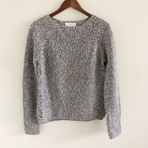 Everlane Black & White Wool Sweater Medium